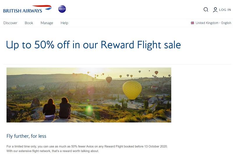 british airways flight reward sale