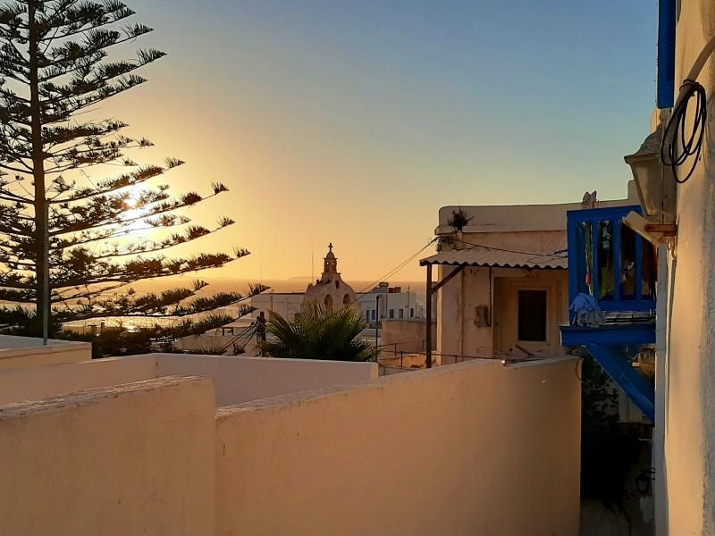 naxos town sunset
