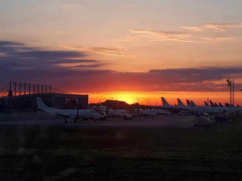 bucharest otopeni airport sunrise