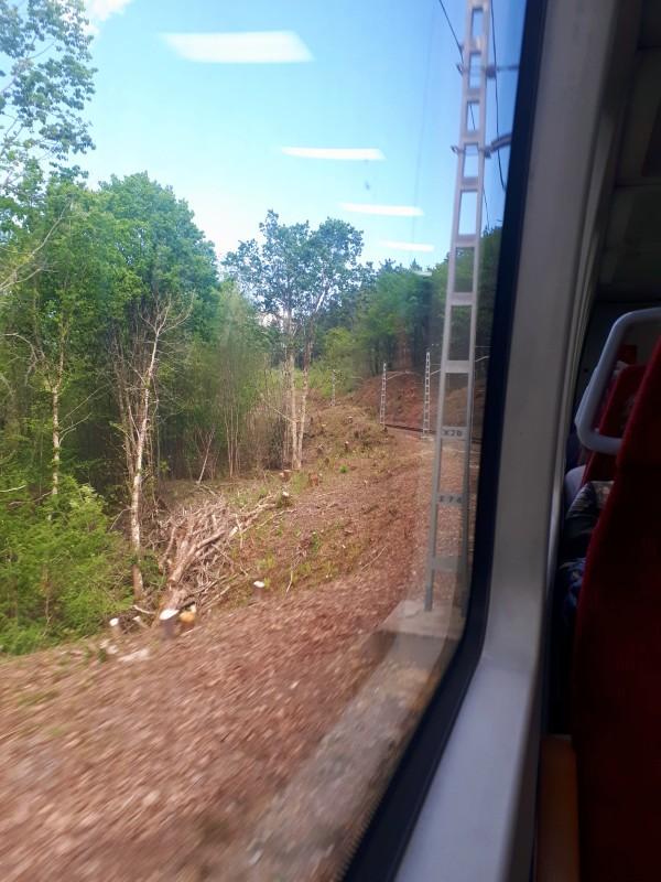 train window feve santander bilbao spain narrow gauge