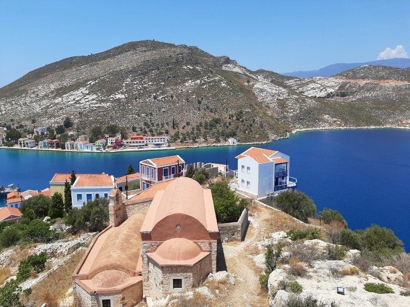 kastellorizo castelrosso harbour entrance view