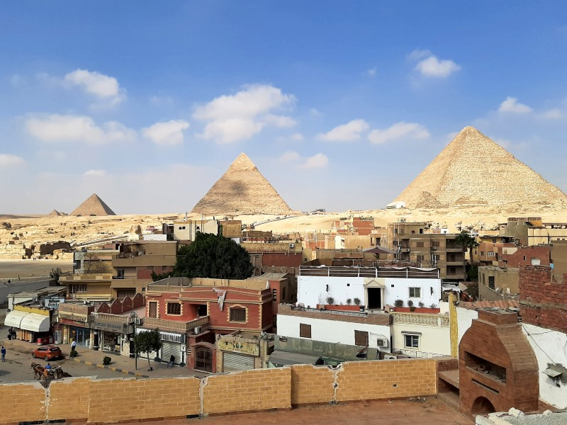 pyramids giza view
