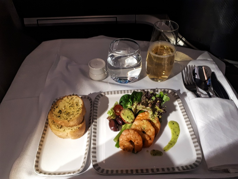 garlic bread prawns singapore airlines business class