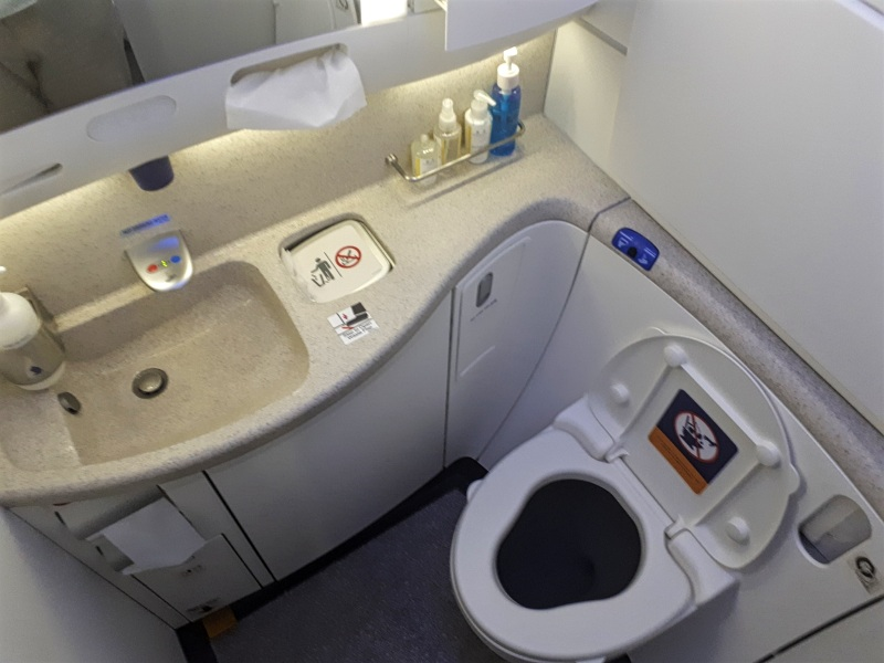 business class singapore airlines lavatory