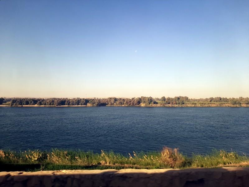 river nile view train cairo aswan egypt