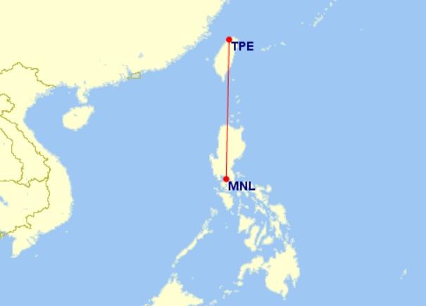 manila taipei flight map