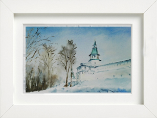 painting monastery winter landscape