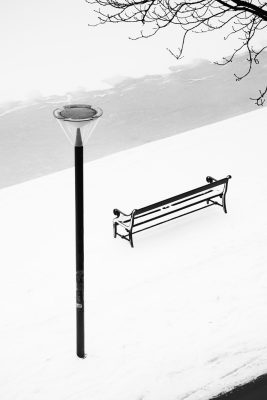 Light Pole and Bench in the Snow