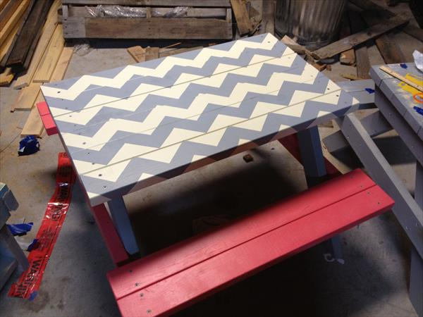 Diy Pallet Chevron Picnic Table Pallet Furniture Plans