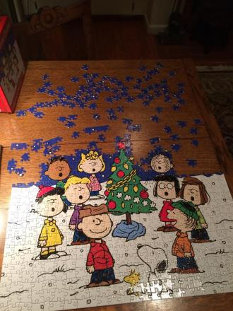 "Keira Kant: ""This puzzle is part of our Christmas tradition at my parents' house and it is usually followed by other puzzles. Seeing the potential in the tree that Charlie Brown picks out has always been a sign of Hope in our family."" #signsofhope"