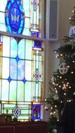 Stained glass window and Chrismon tree