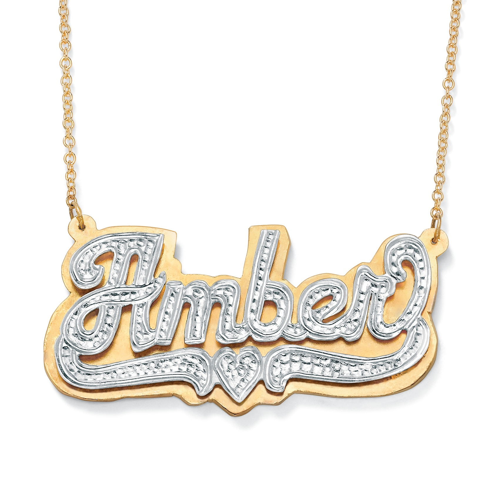 Personalized Heart Nameplate Necklace In 18k Gold Over