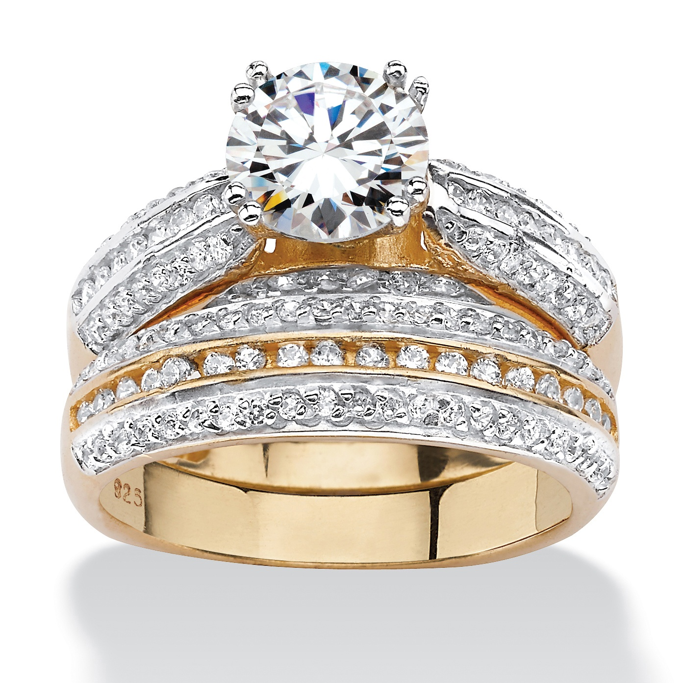 255 TCW Cubic Zirconia Two Piece Bridal Set In18k Gold