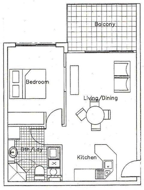 Apartments -1 Bedroom Floor Plan - Palm Cove Tropic Boutique ...
