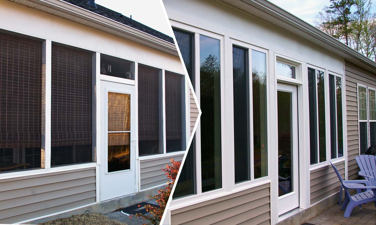 converting screened porch to sunroom