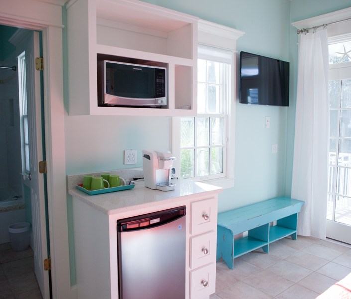 Beach house mini bar in bedroom