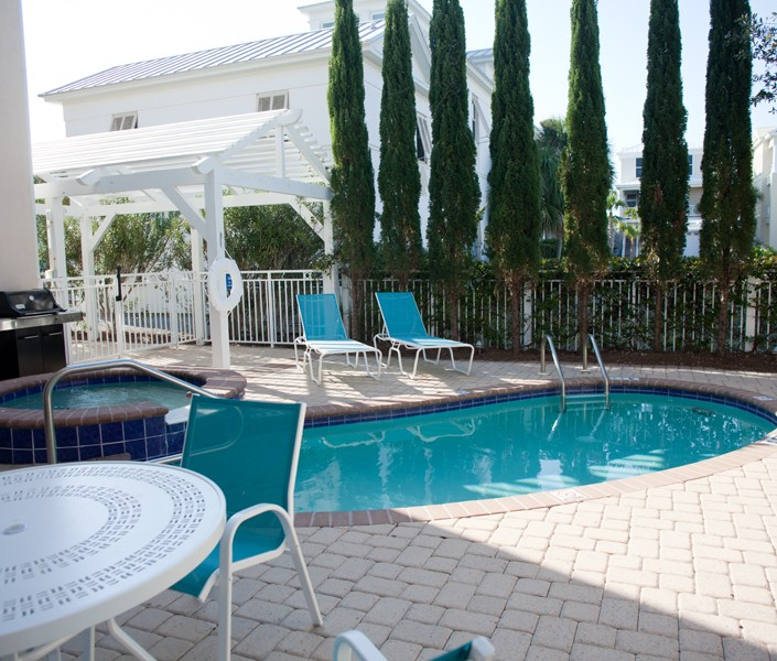 beach house pool metal furniture