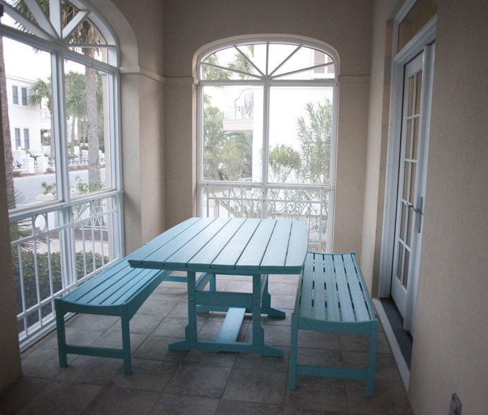 beach house turquoise picnic table