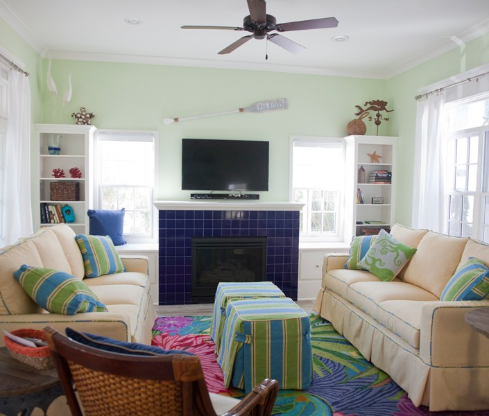 Colorful nautical living room
