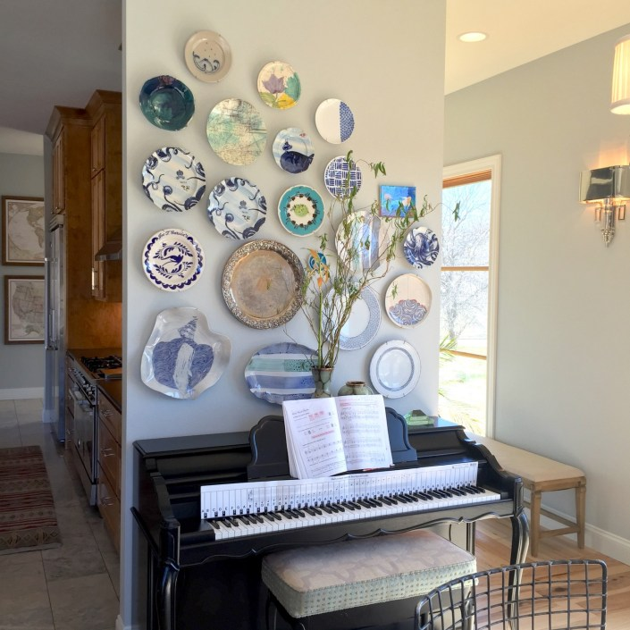 Eclectic / contemporary piano wall art with decorative plates