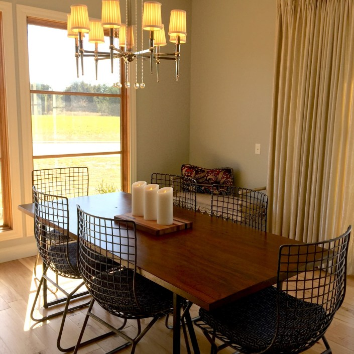 Modern dining room set with metal chairs