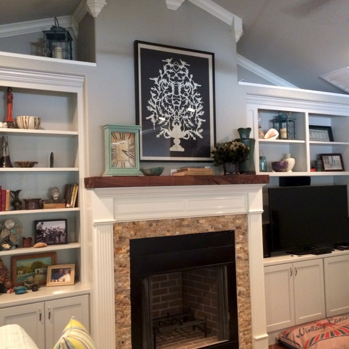 Transitional fireplace decor