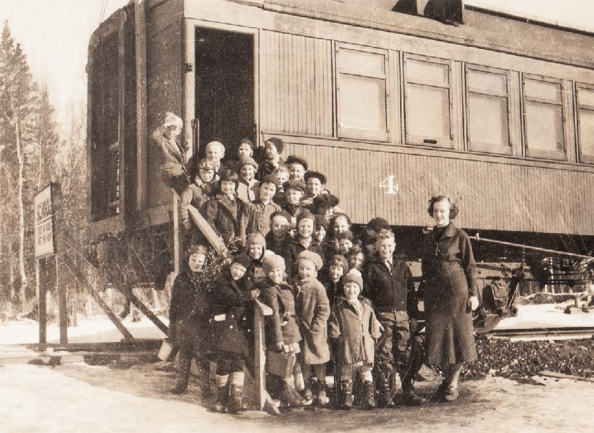 Historic photo of Rail Car School