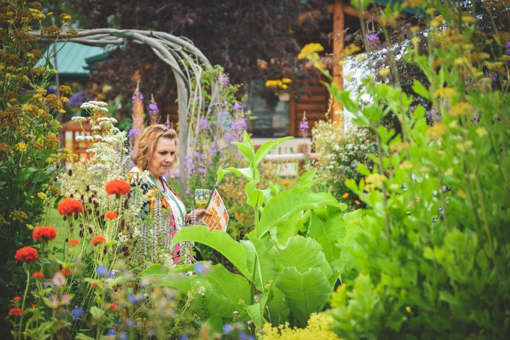 A woman browses the Showcase Garden