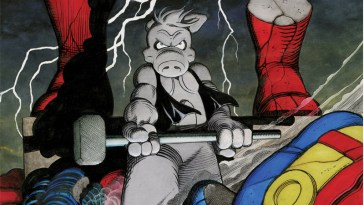 dave sim's cerebus wielding a hammer standing on a crumbled statue of superman