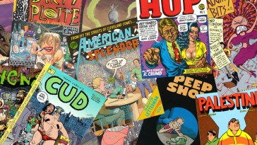 a selection of alternative comics from the 1990s, including robert crumb, joe matt, joe sacco, roberta gregory, julie doucet, chester brown, terry laban and stephen bissette