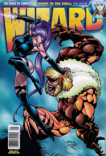 marvel comics' psylocke and sabretooth on the cover of wizard #61 by bart sears