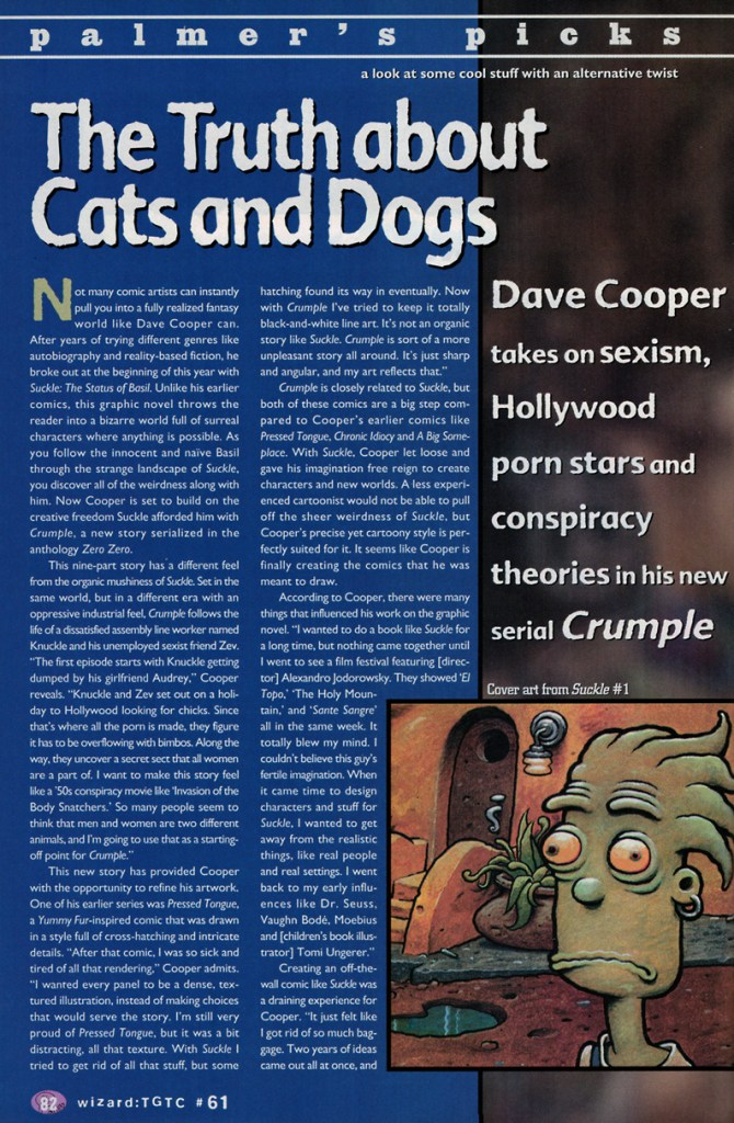 palmer's picks from wizard the guide to comics #61 featuring dave cooper's crumple