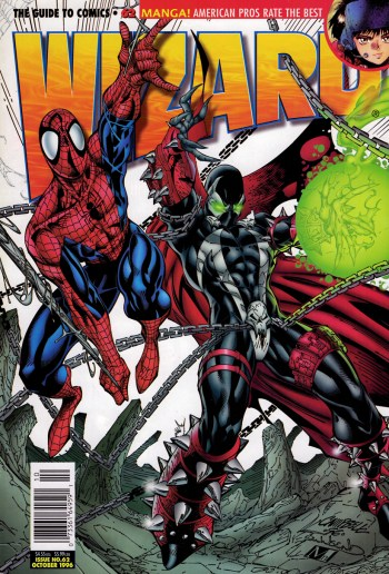 spider-man and spawn on the cover of wizard #62 by j scott campbell