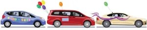 clipart of 3 blue, red and cream coloured cars with balloons