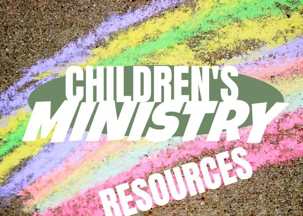 title children's ministry resources with a rainbow of chalk as the background