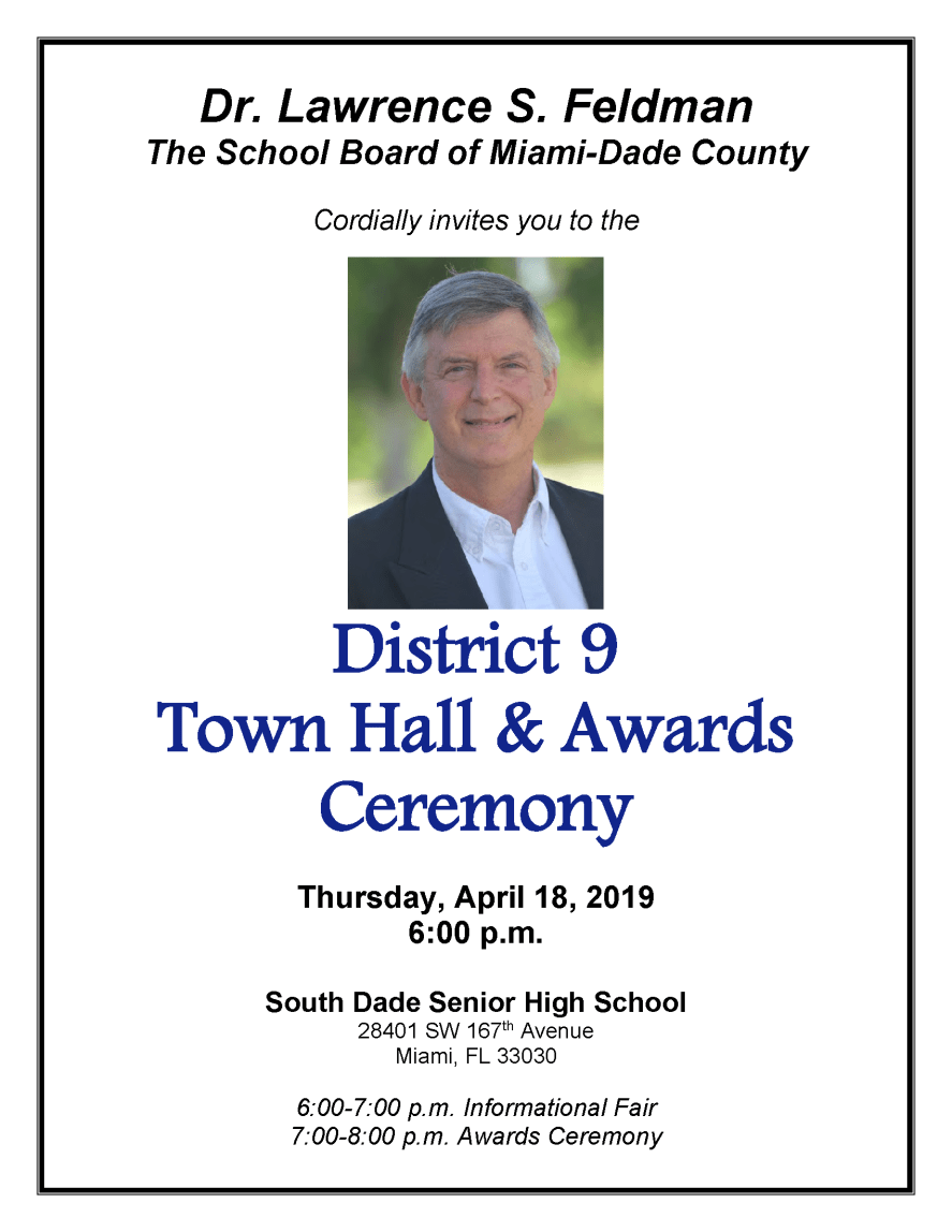 District 9 Town Hall Flyer 4-18-19 at South Dade Sr