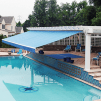 Blue Awning over Pool