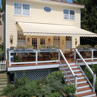 Yellow house with Chevron Awning