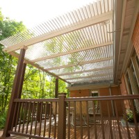 The American Louvered Roof Patio Cover can be installed under a soffit or above when more height is needed, like this home. When opened it looks like a beautiful pergola.