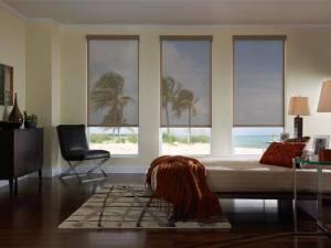 Beach home with window shades