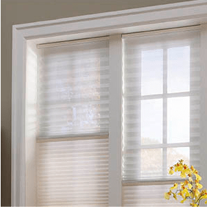 "Pair a sheer pleated shade with a honeycomb or 2"" Hybrid Pleat and keep the view while eliminating annoying glare, UV rays and that new neighbor."