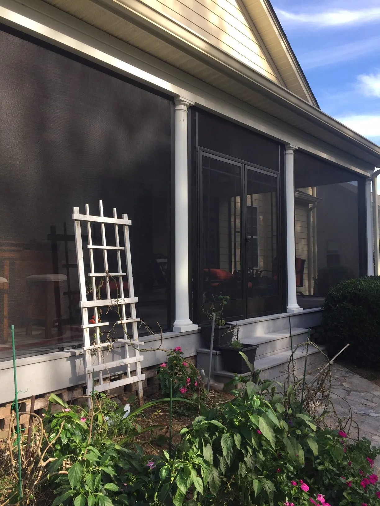 Screened porch with Columns screened in Greer SC