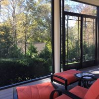Greer Screened Porch with Custom French Screen Doors installed by Palmetto Outdoor Spaces