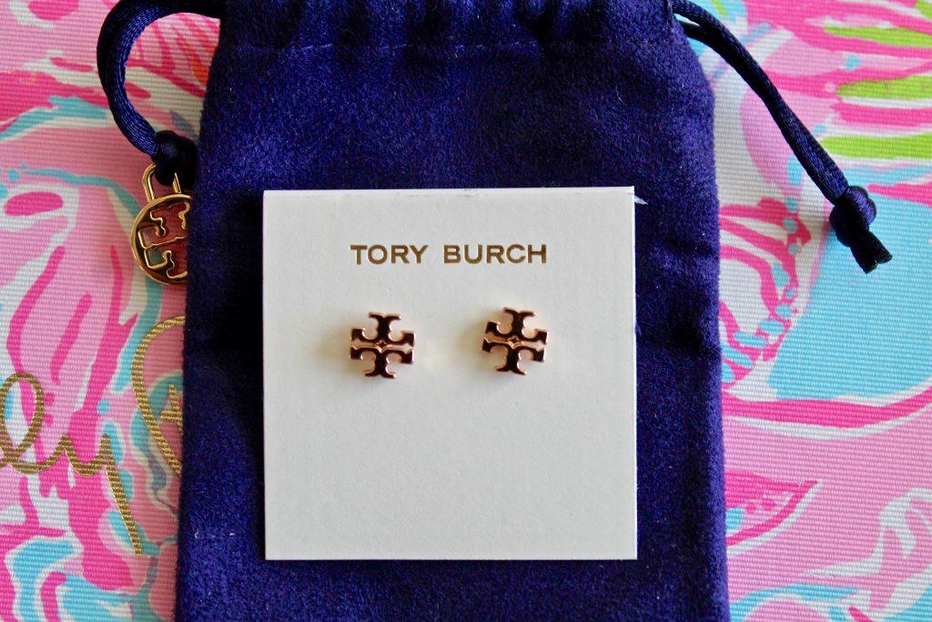 Rose Gold Tory Burch Logo Studs