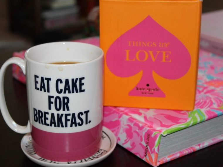 "Kate Spade ""Eat Cake for Breakfast"" mug"