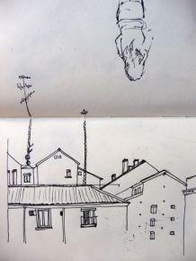 Boceto de un rincón de Lavapiés