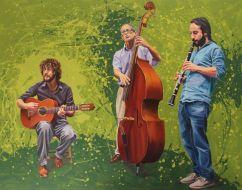 Street musicians. Les Pompettes. Músicos callejeros.