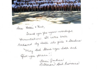 From Lutheran Girls Pioneer Camp