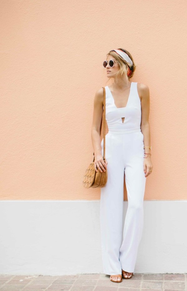 Bebe White Jumpsuit   Palms to Pines