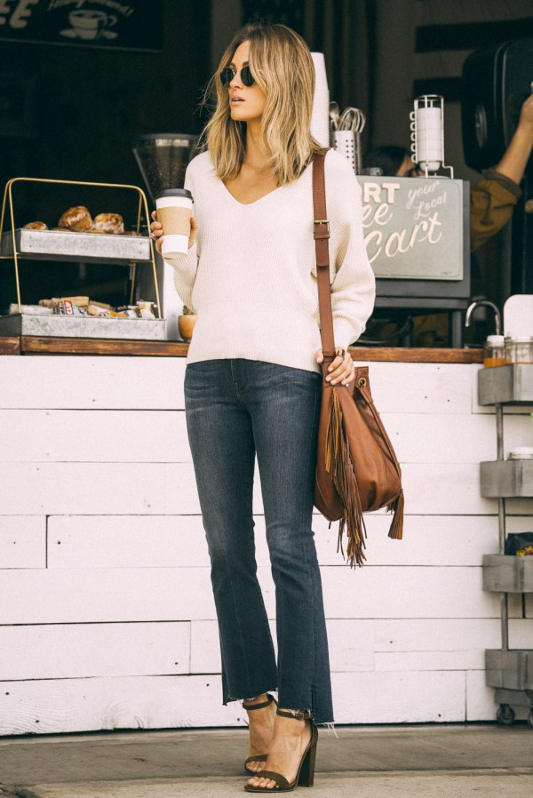Free People Sweater   Frame 'Le Crop Mini Boot' Staggered Hem Crop Jeans (Topsail)   Steve Madden 'Carrson' Sandal